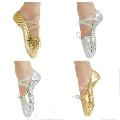 Kids Girls Womens Ballet Dance Shoes Slippers Pointe Gymnastics Shoes Sequins PU