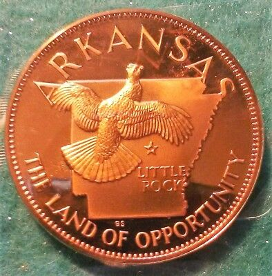 ARKANSAS FLAWLESS PROOF BRONZE ROUND, 1969, States Of The Union Series
