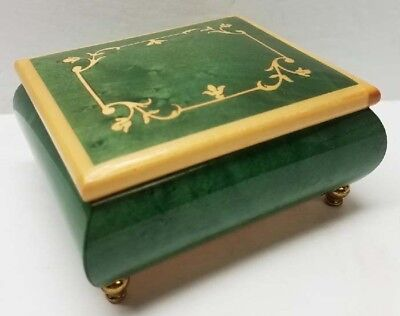 San Francisco Music/Musical/Jewelry Box EDELWEISS Italy, Inlaid Wood ~4x4  GC