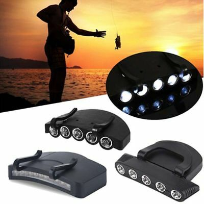 Outdoor Hot Clip On 5LED Head Cap Hat Light Head Lamp Torch Fishing Camp Hunting