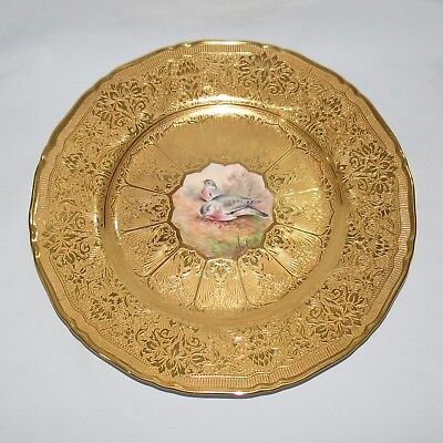 ROYAL WORCESTER HEAVILY GILT WOOD PIGEON plate signed E TOWNSEND c.1956
