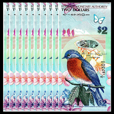 Lot 10 PCS, Bermuda 2 Dollars, 2009(2012), P-57b, UNC