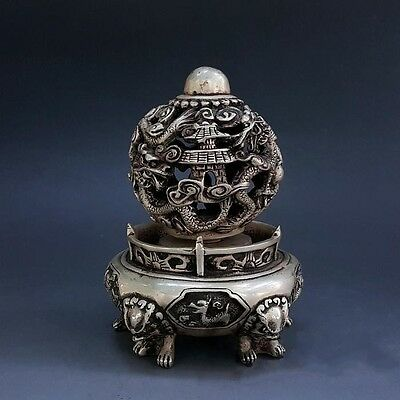 Chinese Pure Silver Dragon Loong Lion Leo Phoenix Beast Animal Rotation Ball