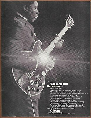 B.B. King Gibson Guitar Lucille Single Page Magazine Print Ad 1970