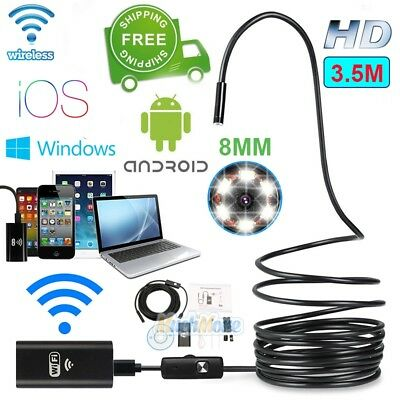 3.5M 6LED WIFI Waterproof Endoscope Borescope Inspection 8MM Camera fr Cellphone
