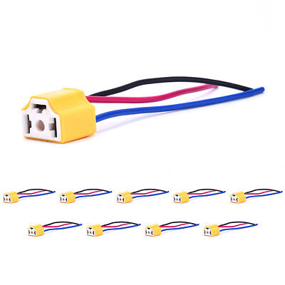 10x H4 Ceramic Wire Wiring Harness Headlight Extension Socket Connector Plug