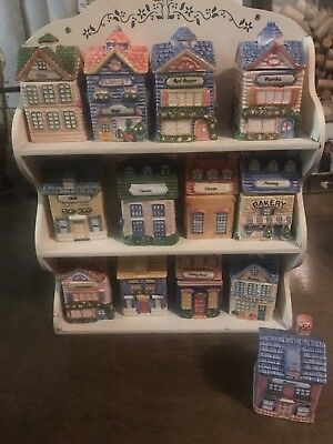 VTG - 1980s AVON (12) Ceramic Cozy Cottage House Spice Rack Wood Labels Included