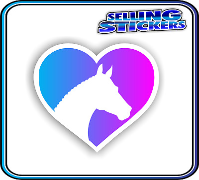 Horse Lovers Sticker Window Float Custom Decal Saddle Riding Equestrian Blu Pnk