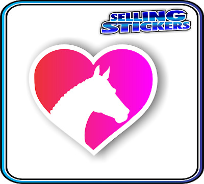 Horse Lovers Sticker Window Float Custom Decal Saddle Riding Equestrian Red Pink