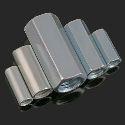 Threaded Rod RoundHex Coupling Nut Carbon Steel Zinc Plated For Allthread Bar