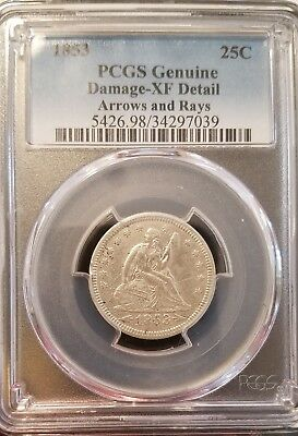 1853 25C Arrows and Rays Liberty Seated Quarter PCGS XF DETAIL