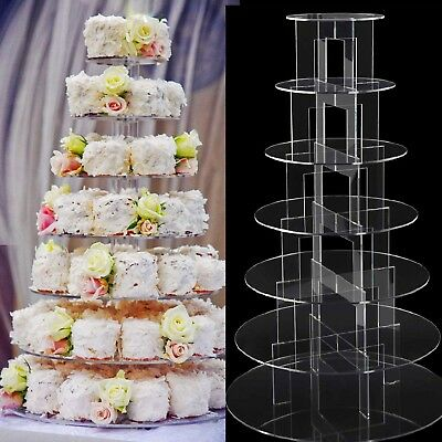 7 Gorgeous Tiers Circle Round Acrylic Cupcakes Party Wedding Cup Cake Stand