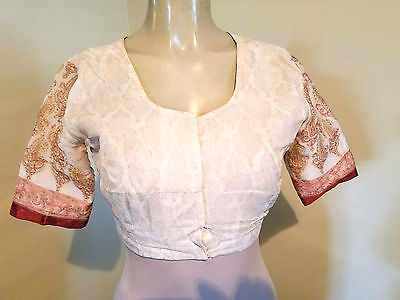 Vintage Indian Silk Shrug- Cream With Deep Coral Edging Design- (S)