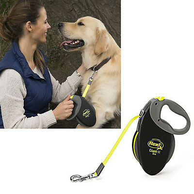 Flexi Giant Retractable Flexible Dog Tape Lead 8m Black Leash Extending Belt NEW