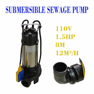 1.5HP Industrial Sump Pump 44GPM Sewage Cutter Grinder Submersible