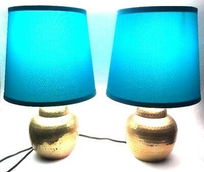 Pair Of Antique Brass Table Lamps Shades Included 2 Vintage Lamps w/ Shades