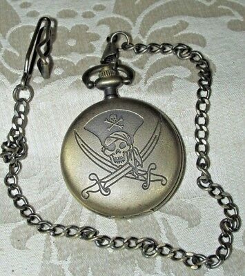 Antique Style Fob Watch Skull Cross Bones w/ SWORDS Checked GWC Pirate Costume ?