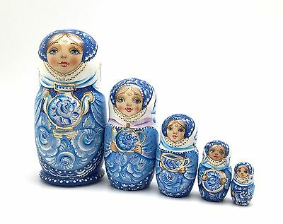 Russian Nesting Doll Gzhel Hand Carved Hand Painted UNIQUE Set Signed by artist
