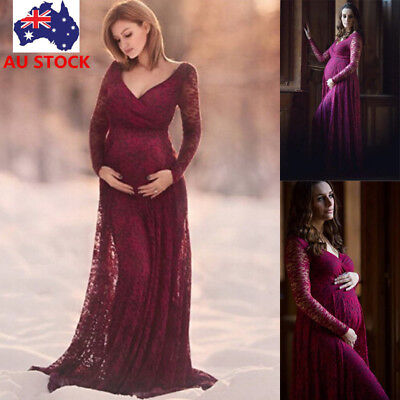 Pregnant Women V Neck Lace Long Maxi Dress Maternity Prom Gown Photography Props