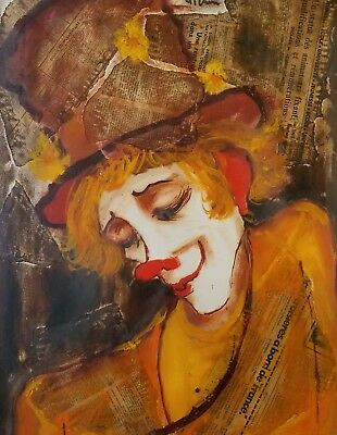 Vintage Art Listed Roger Etienne Original Clown Mixed Media Painting / Drawing