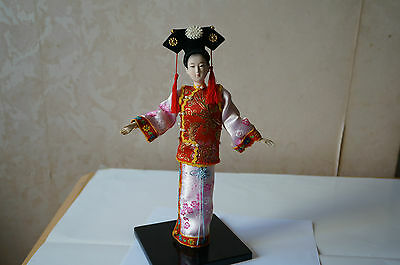 Oriential Broider Doll Old Style Figurine Doll Statue Qing Dynasty Silk Person 1