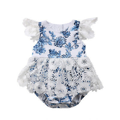 Toddler Newborn Baby Girls Romper Lace Floral Jumpsuit Outfits Flower Sunsuit