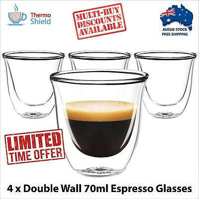 4 x Espresso Glasses Glass Double Wall Dual Coffee Thermo Shield Cup Mug Heat