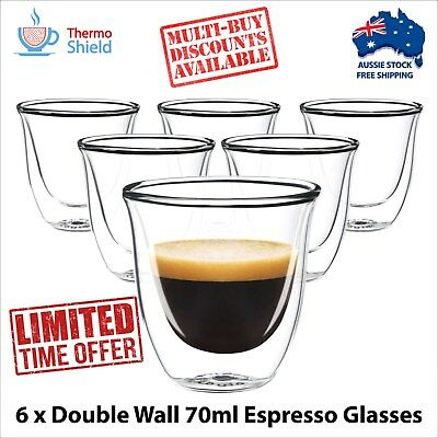 6 x Espresso Glasses Glass Double Wall Dual Coffee Thermo Shield Cup Mug Heat