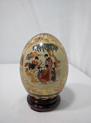 Large Vintage Handpainted Chinese Sasuma Egg with Wooden Stand