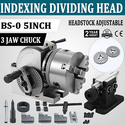 "Bs-0 Precision Dividing Head Set 5"" 3-Jaw Chuck & Tailstock For Milling Machine"