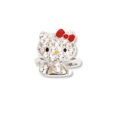 bd092e6a66ed NEW Sanrio Hello Kitty Pave Ring Silver Rhinestone Gift Free Shipping Japan  F S