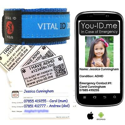Child's ADHD Bracelet Emergency Alerts Parents Phone* Waterproof ID wristband