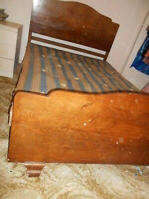Art Deco Double Bed in Walnut Finish - Matches listed Wardrobe