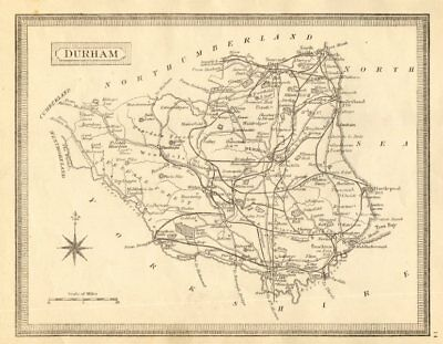Antique county map of Durham by John Heywood. Railways & coach roads c1864