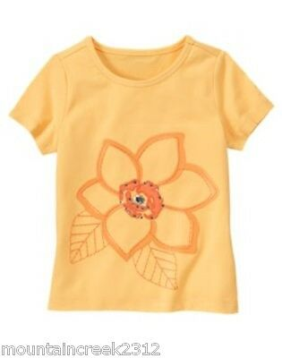 New GYMBOREE Girl's Tee TROPICAL BLOOM Size 3 4 Floral Embellished Cotton