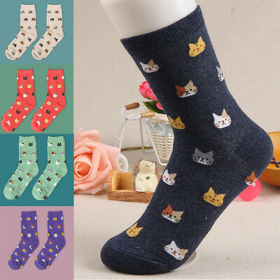 Fashion Women Lovely Cute Cat Socks Animal Cartoon Cotton Socks 5 Colors 1 Pair