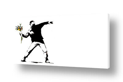 Flower Thrower by Banksy | Ready to hang canvas | Wall art oil painting HD