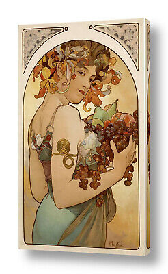 Fruit by Alphonse Mucha | Ready to hang canvas | Wall art oil painting HD