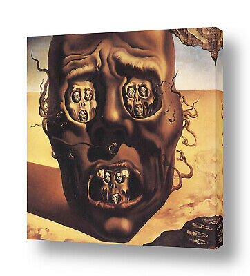 The Face Of War Skull by Salvador Dali   Ready to hang canvas   Wall art HD