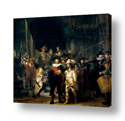 The Nightwatch by Rembrandt | Ready to hang canvas | Wall art painting HD