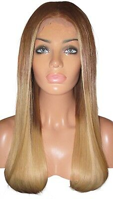 "Remy Human Hair Wig Front Lace 18"" Long Light Brown 8 22 Blonde Ombre Balayage"