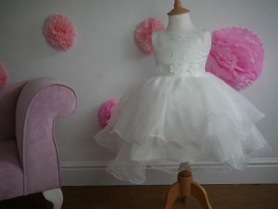 Ivy Christening Flower Girl Party Pageant Dress White/Ivory Satin & Lacy Wedding