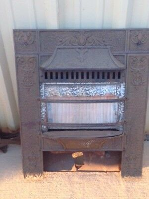 Antique Cast Iron Fireplace/gas Insert Hooded Surround