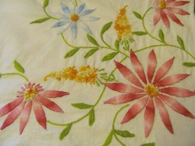 """VINTAGE HEAVILY EMBROIDERED FLORAL TABLECLOTH 51"""" x 47"""" EXCELLENT CONDITION"""