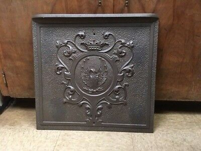 Antique Cast Iron Fireplace Cover Eagle And Crown Motif