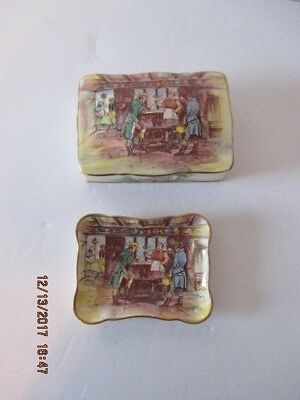 Staffordshire Cigarette Trinket Box and Ashtray Plate Pub Scene
