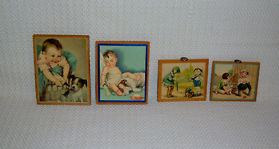 Lot of 4 Small BABY Prints Wall Hangings
