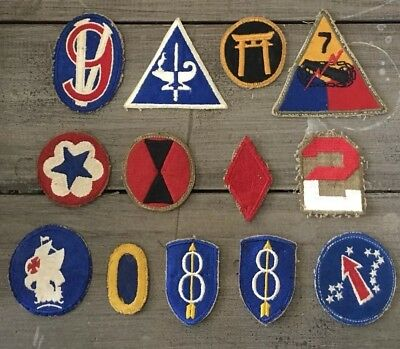 Lot Of 13 WW2 US Army Patches; Infantry, Airborne, Patch