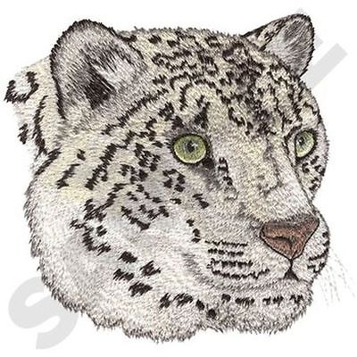 """Snow Leopard, Wild Animal, Exotic Cat Embroidered Patch 5.5""""x 5.7"""""""