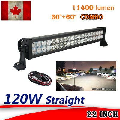 "22"" 120W LED LIGHT BAR FLOOD SPOT OFFROAD work Lamp 4X4 4WD Jeep ATV TRUCK boat"